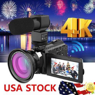 WiFi 4K ULTRA HD 1080P 48MP Digital Video Camera Camcorder Recorder DV+Mic+Lens