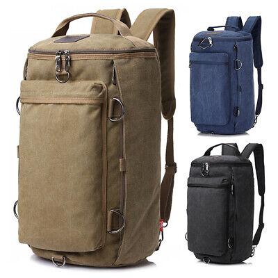 Men Canvas Shoulder Bag Military Backpack Camping Travel Duffle Luggage Handbag