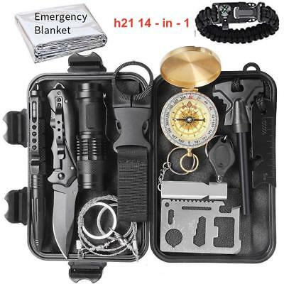 - 14-in-1 Emergency Compact Survival Kit Outdoors Hiking Tactical Recon Camping
