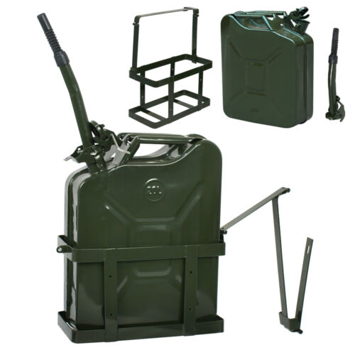 8PCS 5 Gallon Jerry Can Fuel Steel Tank Military Army Backup 20L With Holder Air Intake & Fuel Delivery