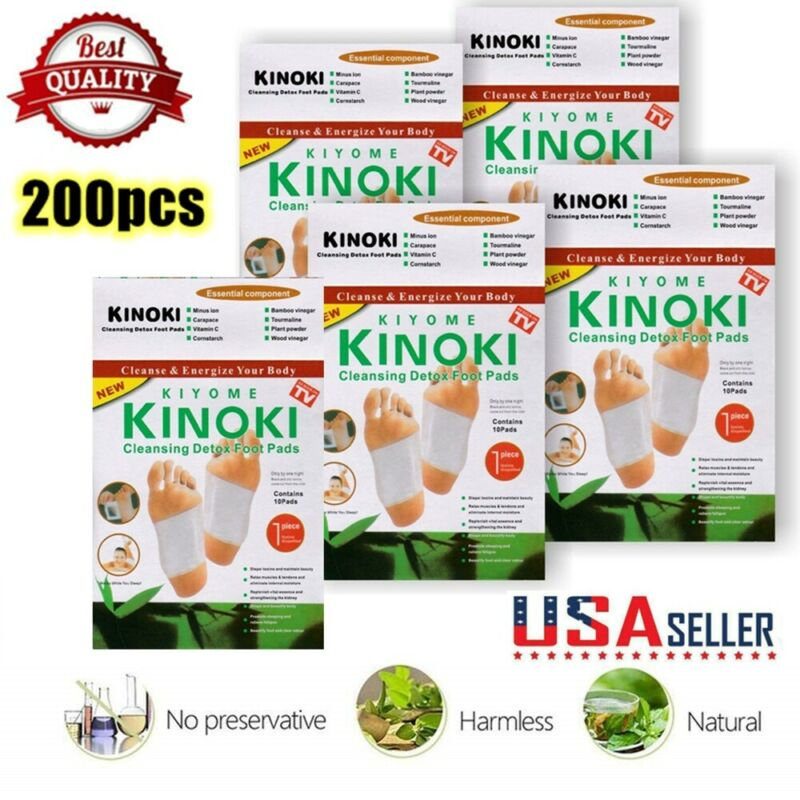 200pcs/lot GOLD Premium Detox Foot Pads Organic Herbal Cleansing Patches