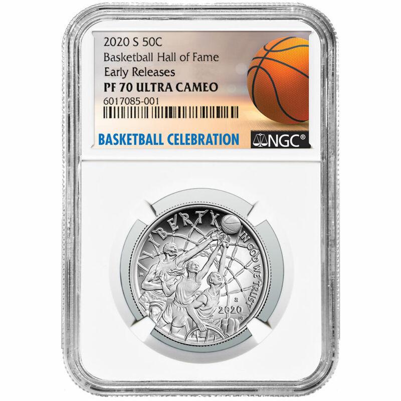 2020-S Proof 50c Basketball Hall of Fame Half Dollar NGC PF70UC ER Basketball La