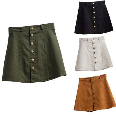Women's Fashion Waist Jean Skirt Korean Style Button Denim Mini A-Line Skirt