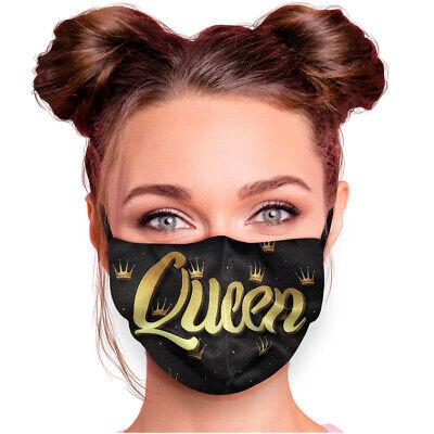 Stoffmaske Schwarz Gold Queen ⭐ Für Paare Mundschutz Maske Mund Nasen Schutz