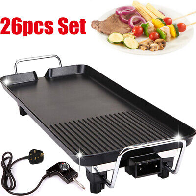 Electric Table Top Grill Griddle BBQ Hot Plate Camping Cooking Cast Iron Pan UK