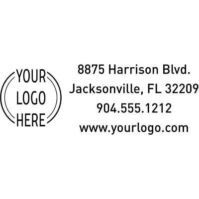 Custom Rectangle Logo Return Address Stamp - Custom Text - Self-Inking Stamper