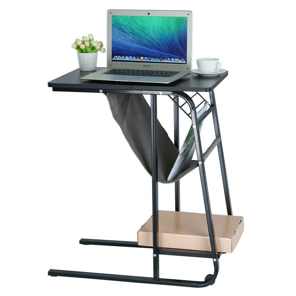 Adjustable Sofa Side Table Wheel Mobile Laptop Desk Food Stand W/Basket New USA