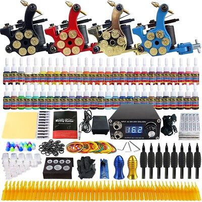 Solong Complete Tattoo Kit Professional Machine 4 Gun 54 Ink Colors power TK458