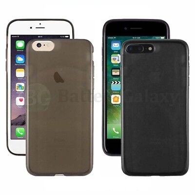 For iPhone 7 8 Plus Crystal Black Gloss Soft TPU Gel Rubber Shockproof Case