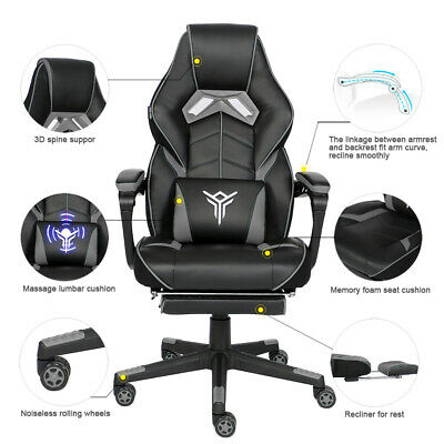 Massage Gaming Racing Chair Swivel Computer Seat Recliner 3d Spine Support Gray