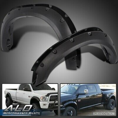 For 2010-2017 Dodge Ram 2500/3500 Black Pocket Style Rivet Bolt On Fender Flares