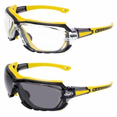 Octane Motorcycle Riding Safety Glasses Yellow Gasket 1 Clear and 1 Smoke (Black And Yellow Glasses)