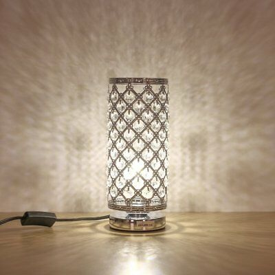 HAITRAL Crystal Table Lamp Decorative Room Desk Reading Lamp for Bedroom Silver