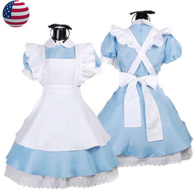Alice In Wonderland Costume Adults (US STOCK!  Alice In Wonderland Women Girl's Costume Storybook Fancy)