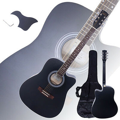 "New 41"" Full Size Adult 6 Strings Cutaway Folk Acoustic Guitar Black"