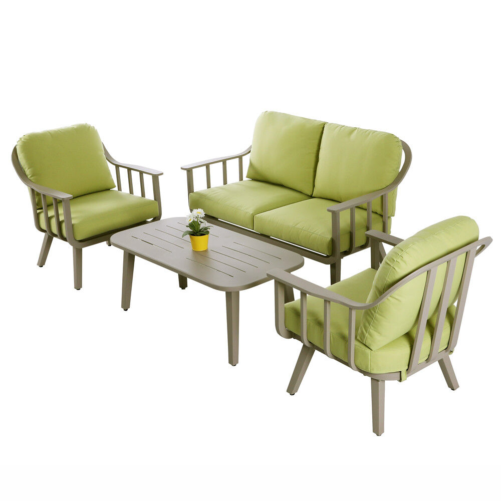 Garden Furniture - 4 PCS Aluminum Patio Furniture Set Garden Lawn Sofa Cushioned Seat Sofa Set