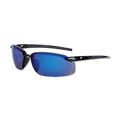 Crossfire Es5 Premium Safety Glasses Black Frames Blue Mirror Lens 2968