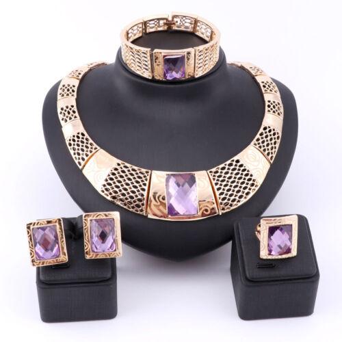Woman Purple Gem Crystal Bridal Gift Nigerian Wedding African Beads Jewelry Set  - $14.99