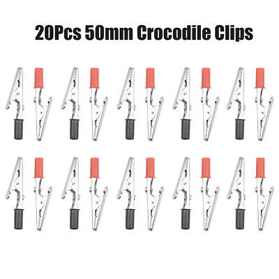20pcs Mini Crocodile Clips Black Red Aligator Diy Craft Hobby 50mm Test Probe Uk
