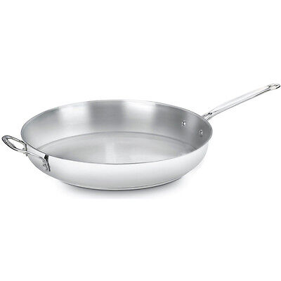 Stainless Steel Open Skillet Saute Frying Pan 14 Inch Cookware Cuisinart Kitchen