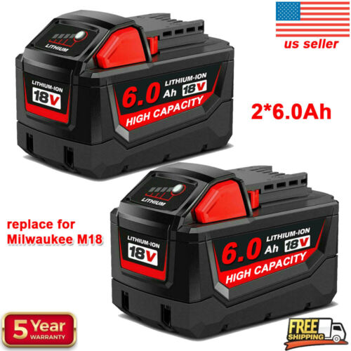 2PACK For Milwaukee M18 Lithium XC 6.0AH Extended Capacity Battery 48-11-1860 US