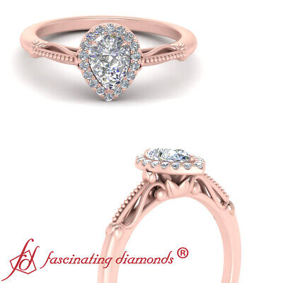 Rose Gold Vintage Halo Engagement Ring With Pear Shaped Diamond Center 0.90 Ctw