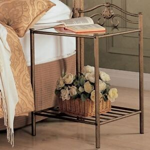 Coaster 300172 - Singleton Transitional Iron Nightstand with Shelf