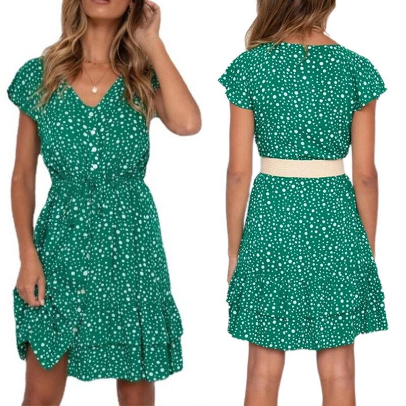 Women Short Sleeve V-Neck Short Dress Elasticated Waist Polka Dot A-Line Dresses Clothing, Shoes & Accessories