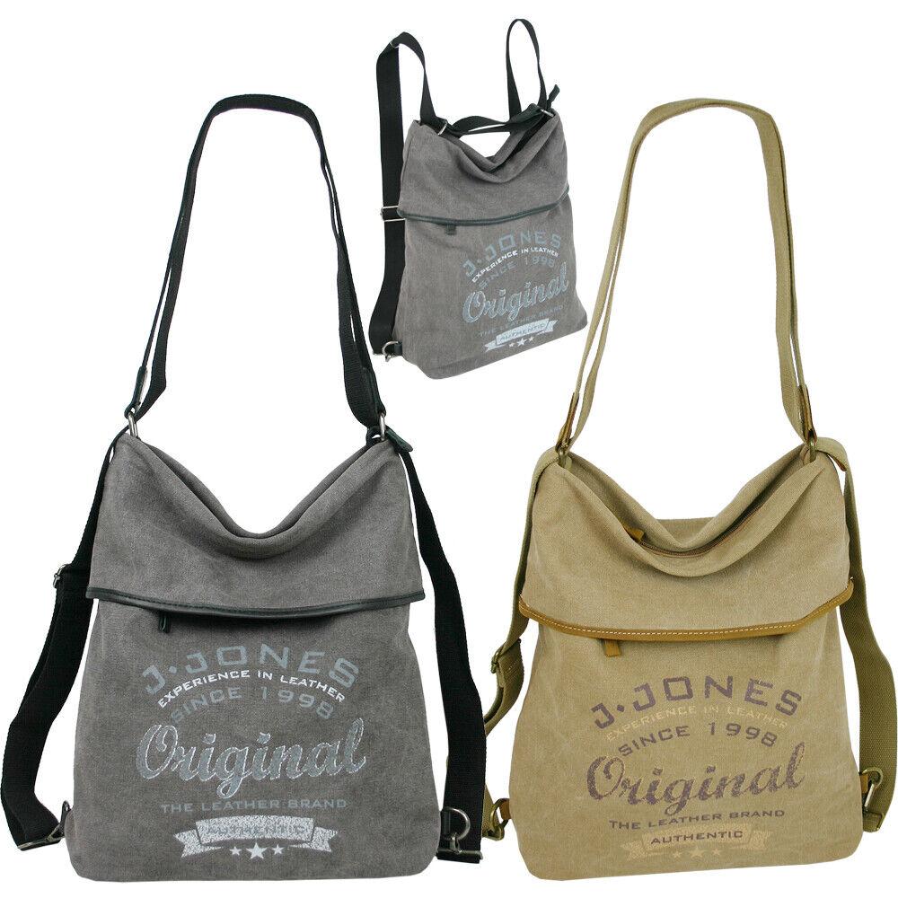 Damen Canvas Handtasche Rucksack Cityrucksack oder als Schultertasche tragbar