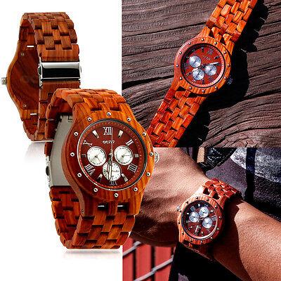 Luxury Wood Watch Wooden Wristwatch Quartz Men's Wrist watch Gift Watches w/ Box