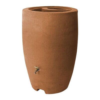 Algreen Athena 50 Gallon Plastic Rain Water Collection Drum Barrel, Terra Cotta