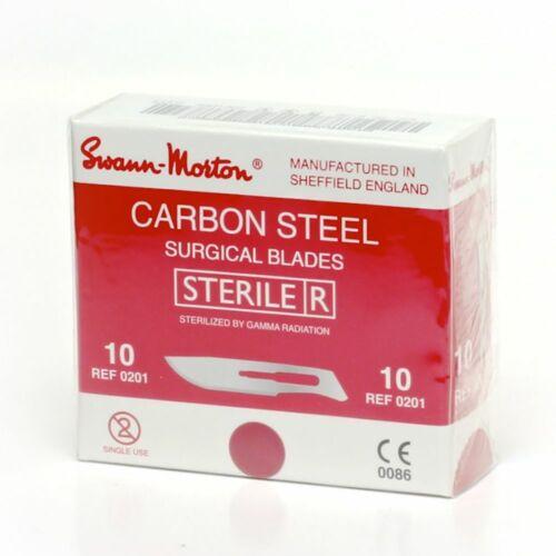 Swann Morton No. 10 Red Carbon Steel Dermaplaning Blades - Box of 100