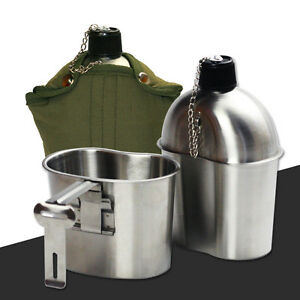Military Stainless Steel 1qt. Canteen & Cup Mess Kit G.I. Style Nylon Cover Belt