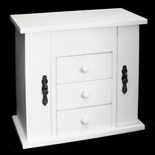 WHITE WOODEN 3 DRAWER JEWELLERY & TRINKET BOX STORAGE CASE WITH NECKLACE HANGERS