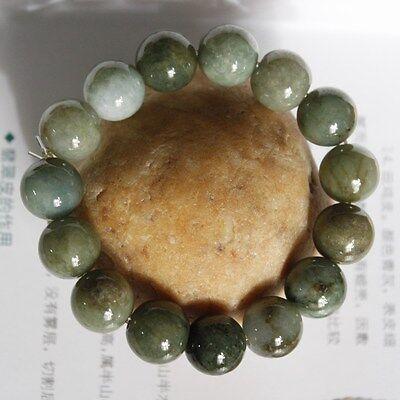 Genuine 100% Natural (Untreated) Oily Green Jadeite JADE Beads Bracelet 13mm