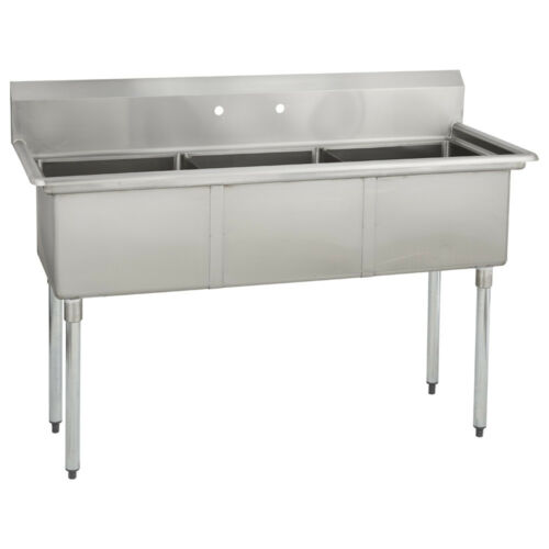 (3) Three Compartment Commercial Stainless Steel Sink 53 x 25.8 G
