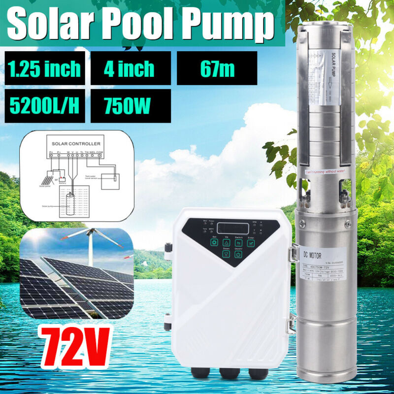 """4"""" DC 72V 1HP Deep Bore Well Solar Water Pump Submersible MPPT Controller Kits"""
