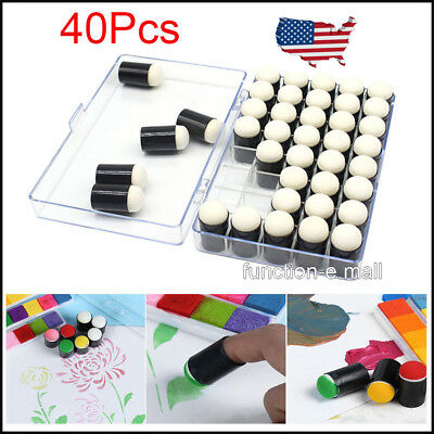 40XCraft Finger Sponge Daubers+Case for Card Making Painting Drawing Chalk Gift