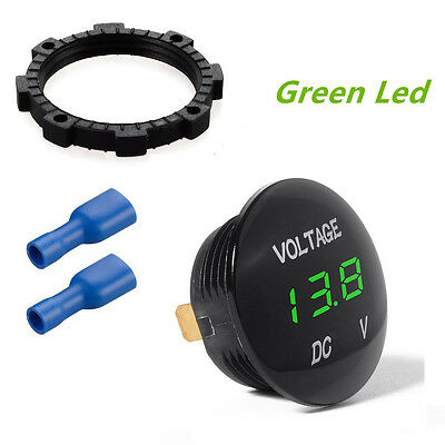 Round Arc 12V Green LED Car Boat Auto Truck Boat Digital Display Voltmeter Meter