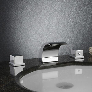 ... Hole-Bathroom-Waterfall-Widespread-Face-Basin-Sink-Mixer-Faucet-DHL