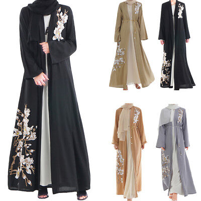 Women Embroidery Long Cardigan Abaya Dress Muslim Kimono Open Front Jilbab Gown