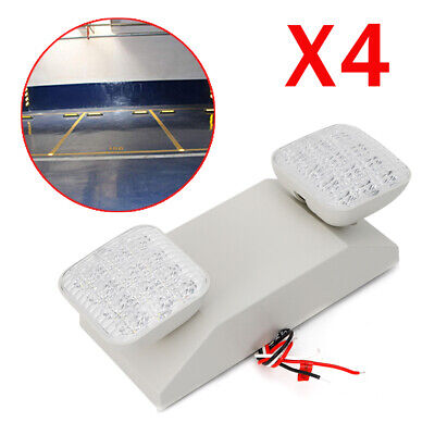 4set Led Emergency Exit Light Lamp Lighting Fixture Twin Square Heads Universal