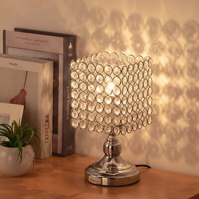 HAITRAL Bedside Table Lamps - Square Crystal Night Lamp with Unique -