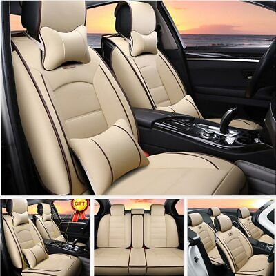 Beige Car Seat Cover Protector Accessories Universal Truck SUV Cushion FULL Set