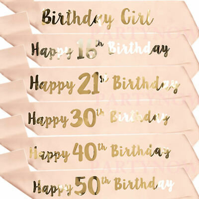 Happy Birthday Sashes Rose Gold Birthday Girl Sash 18/21st/30/40/50/60th Party - 21st Birthday Sash