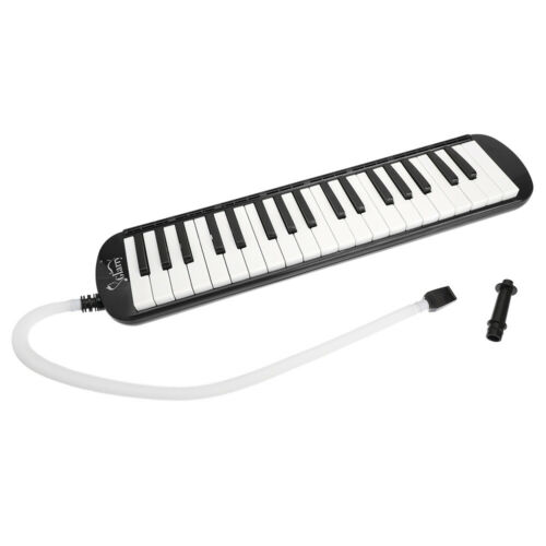 Pianica Melodica 37 Keys with Long Pipe Short with Mouthpiece & Hose & Bag Black