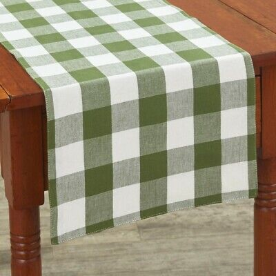 Sage Green Cream Wicklow Check Table Runner Reversible Farmhouse Kitchen 13Wx36L