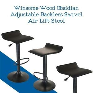 NEW Winsome Wood Obsidian Adjustable Backless Swivel Air Lift Stool, PVC Seat, Black Metal Post and Base Condtion: New