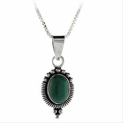 - Sterling Silver Malachite Bali Bead Oval Pendant, 18
