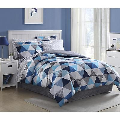 8 Piece Bed Bedding Set Comforter Blue White Gray Geometric King Queen Full Twin Blue White Bedding